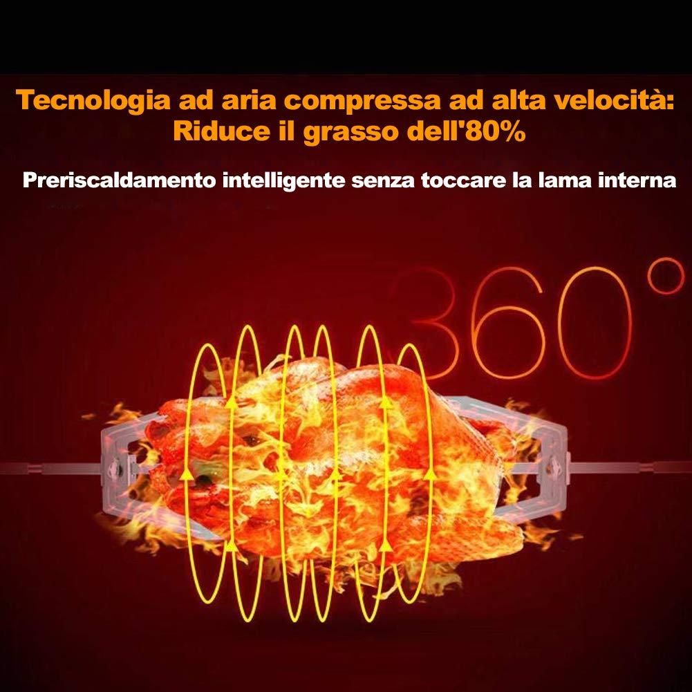 Bakaji Friggitrice ad Aria Calda Senza Olio Airfryer XL Display Digitale a 7 Programmi Capacit/à 3.2 Lt Premium 1400W Cuisiner Deluxe