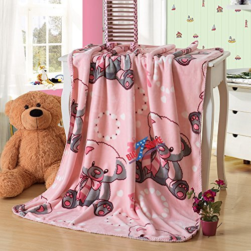Home Must Haves Bear Design Printed Double Sides Thick Animal Gold Mink Fleece Super Soft Baby Toddler Boys Girls Children Blanket Throw (Pink)