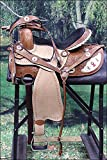 WESTERN BARREL RACING TRAIL PLEASURE HORSE RIDING SADDLE WITH HEADSTALL AND BREAST COLLAR SET- LIGHT OIL
