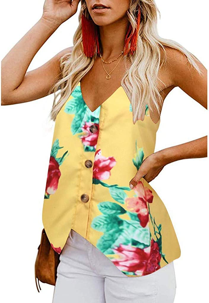Womens Button Deep V Neck Floral Print Tank Top Loose Casual Sleeveless Shirts Summer Tank Tops