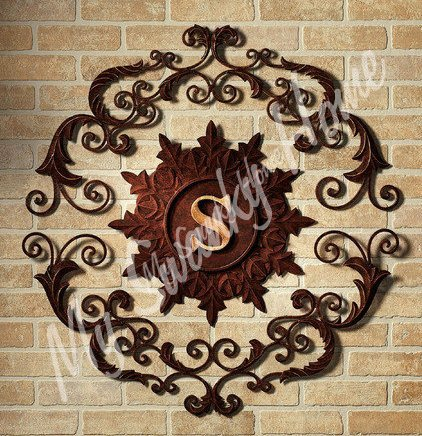 Lavish Iron Scroll Monogram Wall Grille | Outdoor Initial Letter