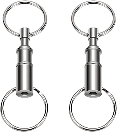 2-Pack Binboll Pull-Apart Silver Key Ring Easy Detach Double Spring Split Snap Seperate Chain Convenient Accessory Gift