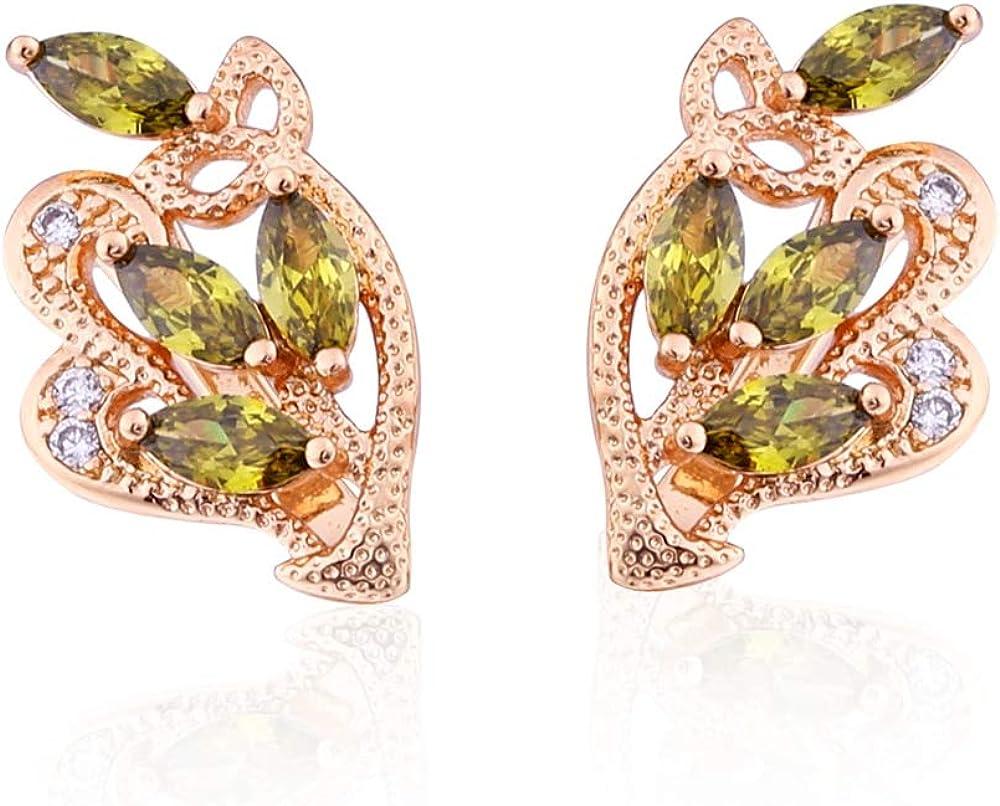 Pendientes de circonita dorada de moda Pendientes de oro rosa de hoja de mujer con piedras Joyas de oro