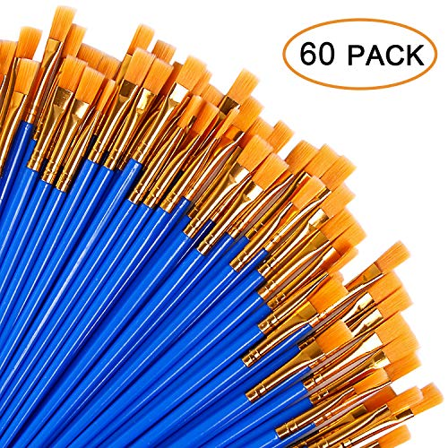 UPINS 60 Pcs Flat Paint Brushes Set with Nylon Hair,Small Brush Bulk for Miniature Detail Painting,Short Plastic Handle,Artist Acrylic Oil Watercolor Fine Art Painting for Kids,Students,Starter,Adults