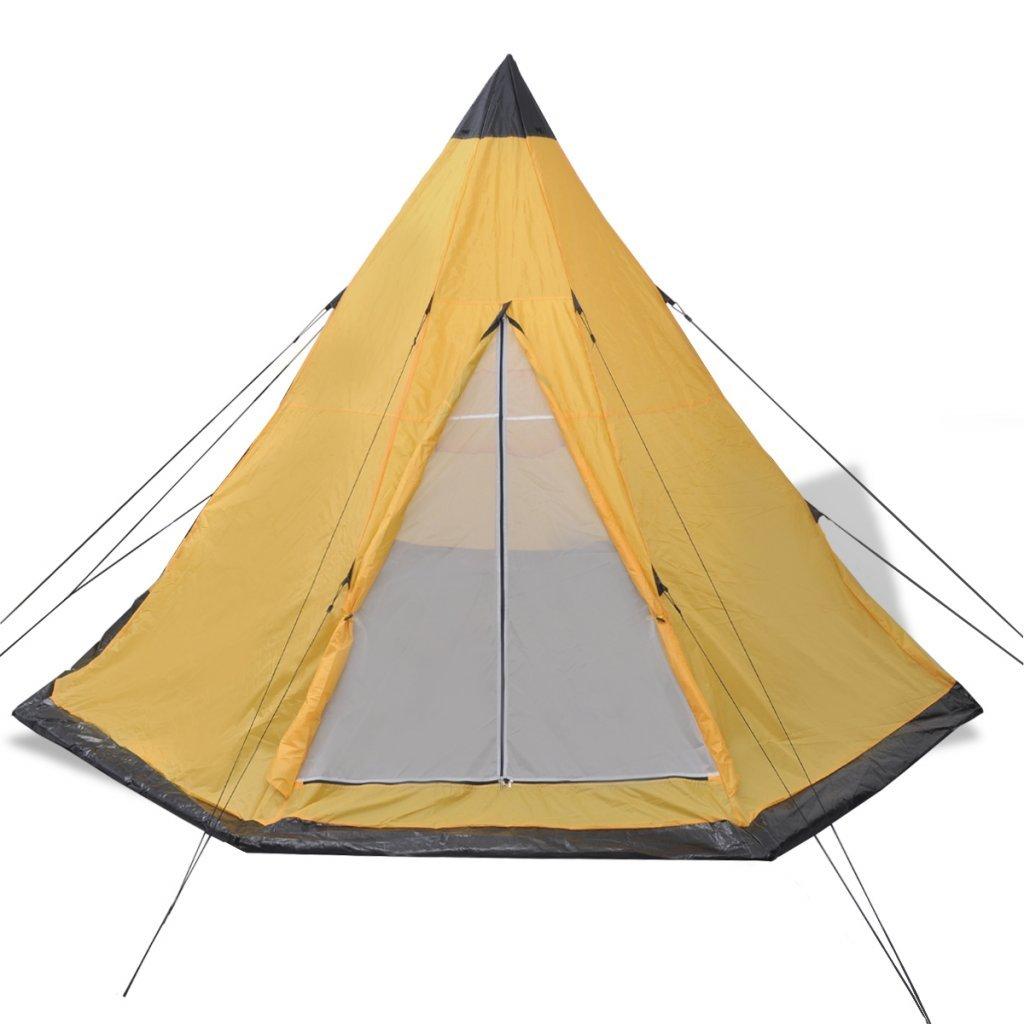 vidaXL Indianerzelt Wigwam Familienzelt Camping Gruppenzelt 4 Personen Blau//Gr/ün//Gelb