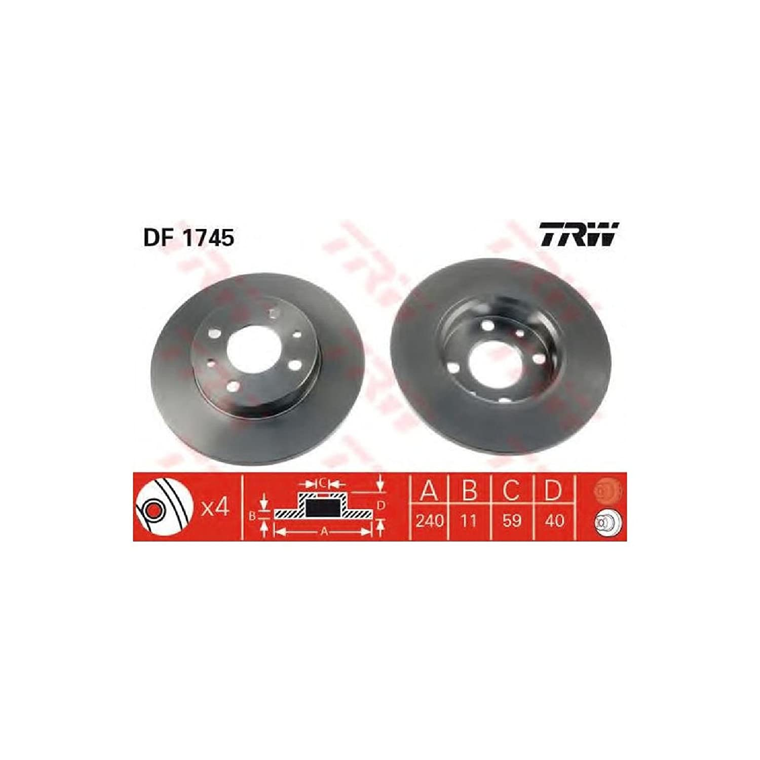 TRW DF1745 Disco Freno