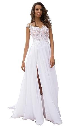 c5364278742 SHENLINQIJ Women s Lace Summer Beach Wedding Dress Spaghetti Strap Bridal  Gowns