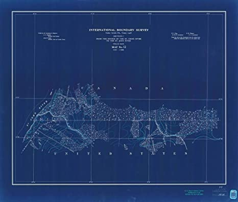 Amazon Com 18 X 24 Canvas Wrap Blueprint Style Nautical Chart Of International Boundary From The Source Of The St Croix River To The St John River Survey Map No 12 1908 International Boundary