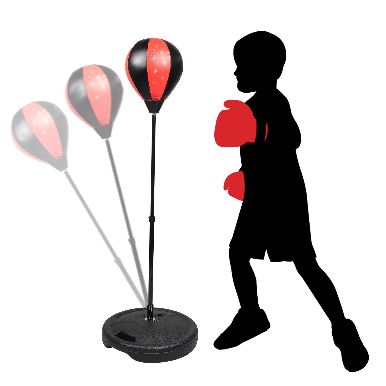 Set de Boxeo para Niños, KidsHobby® Saco de Boxeo independiente con Guantes de Boxeo Pelota de Boxeo para Niños, Altura Ajustable 80-110cm