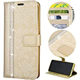 Sycode Wallet Case for Huawei P10 Lite,Glitter Case for Huawei P10 Lite,Glitter Stitching Color Strap Flip Case for Huawei P10 Lite-Gold