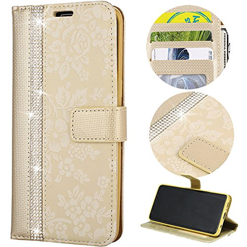Stysen Wallet Case for Galaxy S9 Plus,Glitter Leather Case for Galaxy S9 Plus,Glitter Small Flower Design Stitching Color Diamond Flip Case Cover for Samsung Galaxy S9 Plus-Gold by Stysen