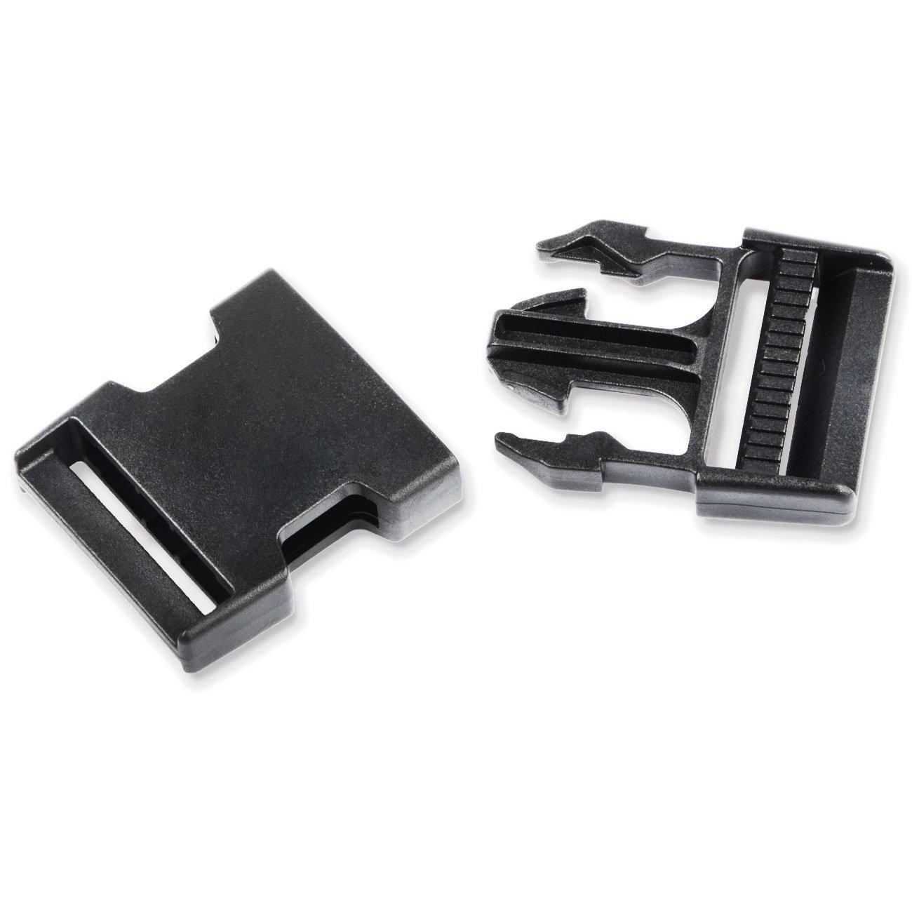 1-1//2 Inch 4pcs Multi-Size Dual Adjustable Buckles Plastic Flat Side Release Buckles