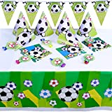 Boao 36 Pieces Soccer Party Supplies Set, include Soccer Ball Pattern Tablecover, Pennant Banner, Napkins, Cone Hats and Whistles for Theme Party Birthday Party