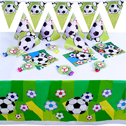 Boao 36 Pieces Soccer Party Supplies Set, include Soccer Ball Pattern Tablecover, Pennant Banner, Napkins, Cone Hats and Whistles for Theme Party Birthday Party -