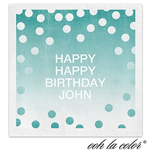 Party Polka Dots Personalized Beverage Cocktail Ooh La Color Napkins - Canopy Street - 100 Custom Printed Paper Napkins