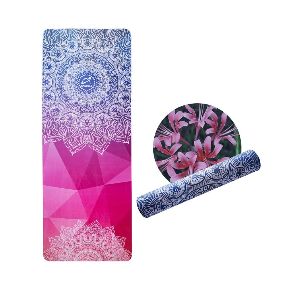 LS-Exercise Fitness Yoga Mat - Suede Printed Yoga Mat, Beginner Natural Rubber Non-Slip Fitness Multi-Function High Temperature Yoga Mat [183 66cm] 5mm & (Color : Blue)