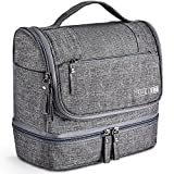 Toiletry Bag Hanging Travel Toiletry Organizer Kit with Hook and Handle Waterproof Cosmetic Bag Dop Kit for Men or Women (Gray)