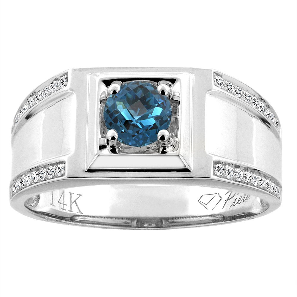 14K White Gold Natural London Blue Topaz Men's Ring Diamond Accented 3/8 inch wide, size 11