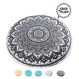 Mandala Life ART Bohemian Decor Floor Cushion - INSERT INCLUDED - Round Meditation Pillow Pouf - 100% Hand Printed Organic Cotton by (Black Lotus)