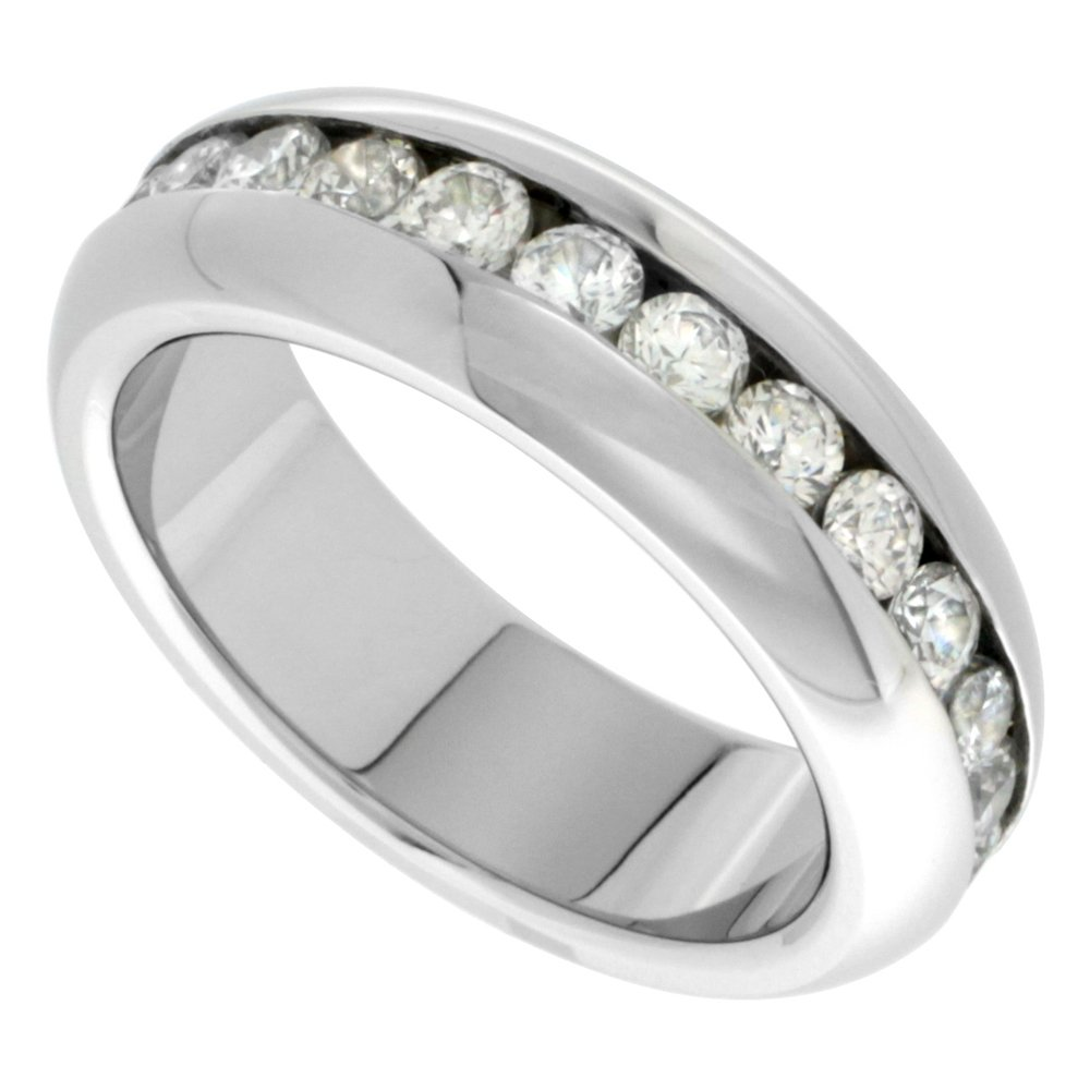 Surgical Stainless Steel CZ Eternity Ring Wedding Band 7mm Domed 2mm Stones High Polished, size 8.5 by Sabrina Silver