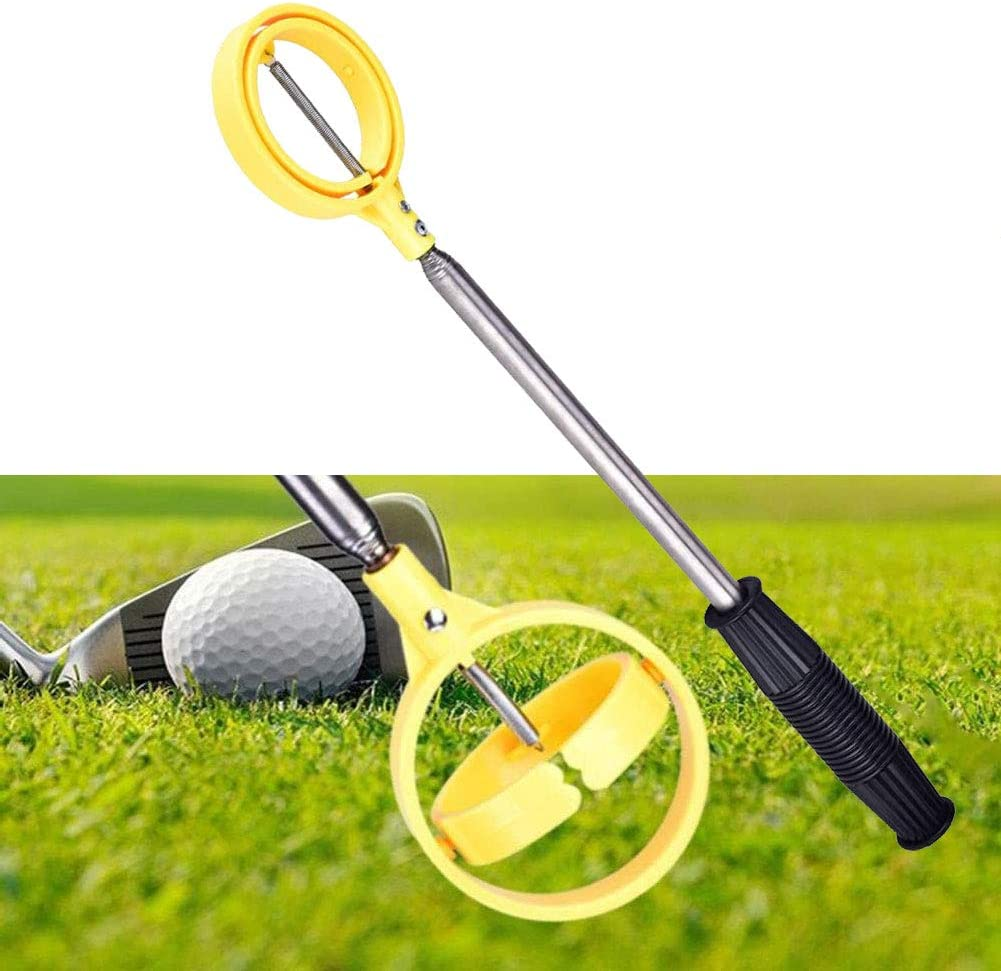 Golf Ball Retriever for Water, Telescopic Golf Ball Picker|Stainless Golf Ball Pick Up Tool with Automatic Locking Scoop|Non-Slip Comfortable Handle|Extendable 16-79 Inch, Gift for Golfer,Yellow