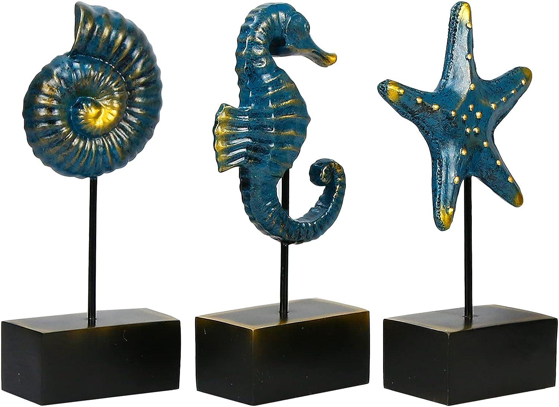 Lzttyee 3Pcs Modern Resin Sculpture Home Decor Seahorse Starfish Conch Statue Figurines Beach Nautical Style Crafts Tabletop Sculptures Accent Hand Decor Sculpture (Blue)