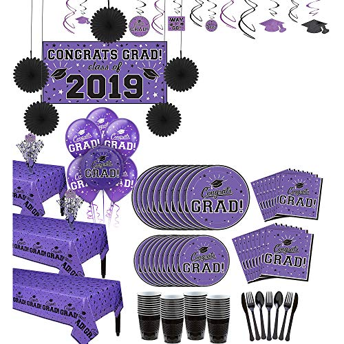 Party City Super Congrats Grad Purple 2019 Graduation Party Supplies for 54 Guests with Banner, Tableware and Balloons