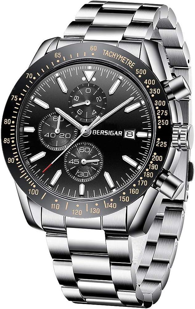 BERSIGAR Reloj de Pulsera de Cuarzo analógico para Hombre Elegante cronógrafo 30M Impermeable Reloj para Hombre