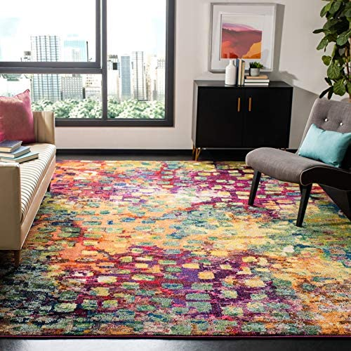 Safavieh Monaco Collection MNC225D Modern Abstract Watercolor Pink and Multi Distressed Area Rug 9' x 12'
