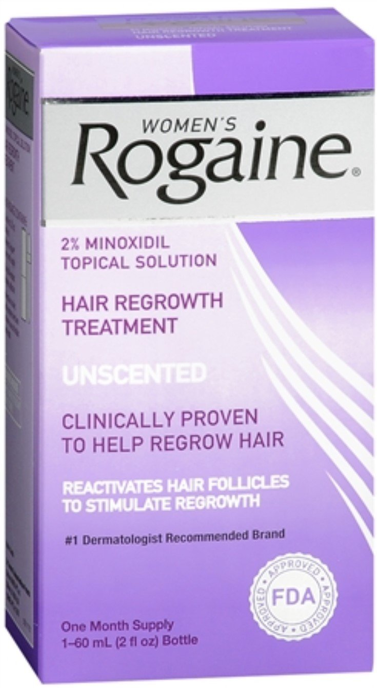 Rogaine Women's Topical Solution, Hair Regrowth Treatment, Unscented - 2 fl oz, Pack of 2 J&J CONSUMER INC