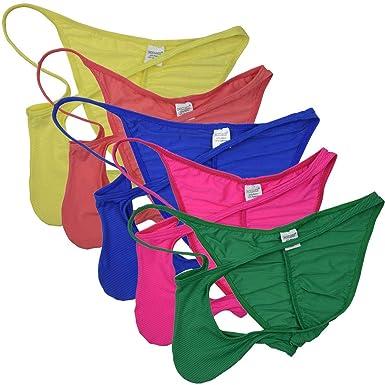 8170601ec11a OROCOJUCO 5-Pack Men Pouch Thong String T-Back Spandex Underwear Mini  Bikini Jockstrap