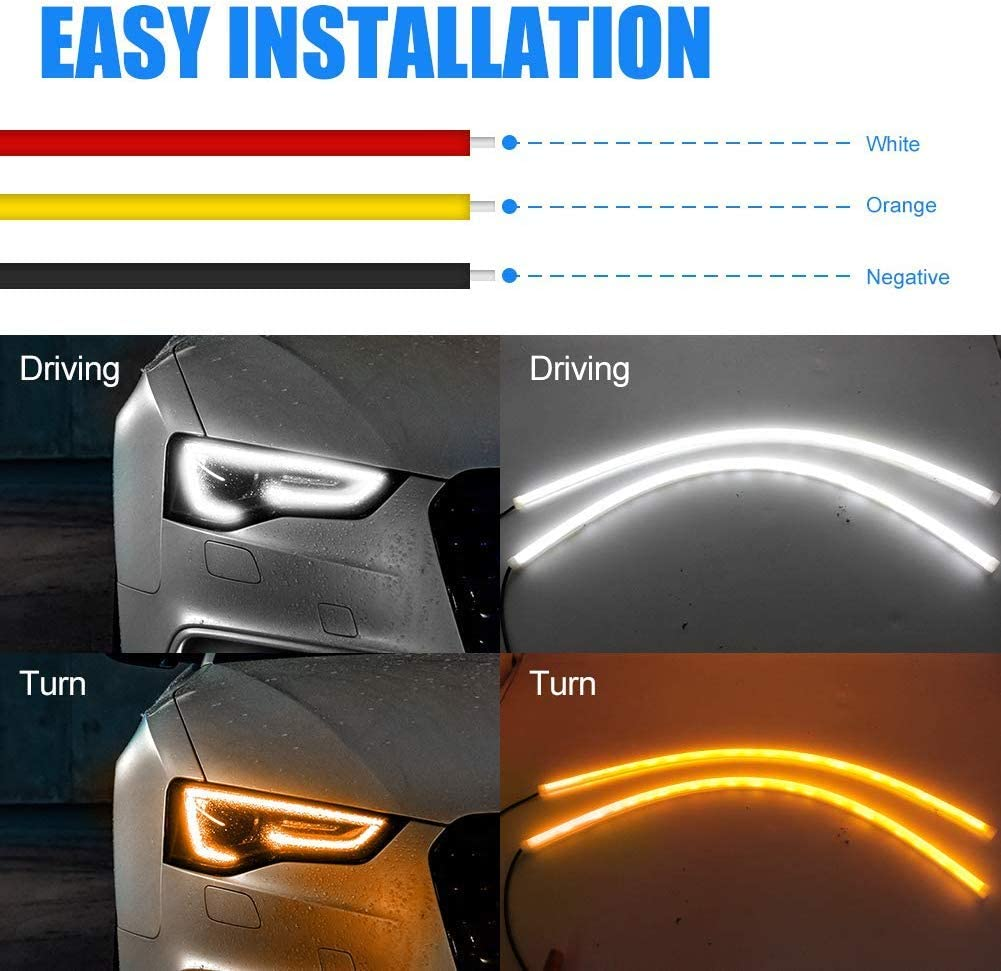 2Pcs 24 Inch Daytime Running Lights,White//Amber Flexible LED Strip Lights DRL Headlight and Flowing Turn Signal Light Fit for Any 12V Cars 60CM