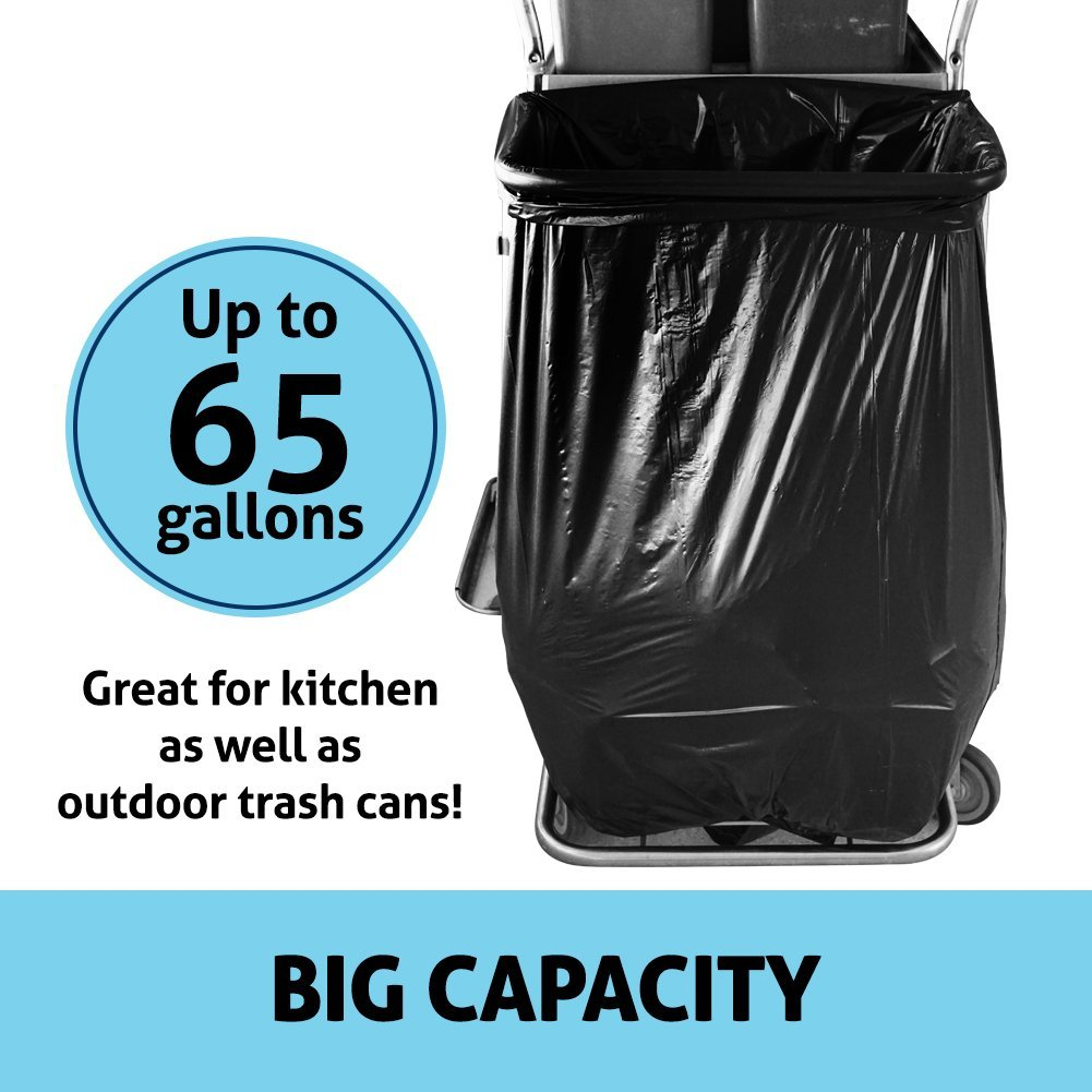 Duty Trash Bag | 50 counts 65 gallons Capacity Heavy-Duty 1.5 mil Thickness No Leak or Tear Weatherproof Low-Density Can Liners | 47'' x 55'' HDPE Puncture-Resistant Black Garbage Bag | 1580 by Big Bag Trash (Image #3)