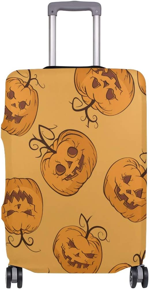 ALAZA Luggage Protector,Jack Olantern Pumpkin Elastic Travel Luggage Suitcase Cover,Washable and Durable Anti-Scratch Case Protective Cover for 18-32 Inches