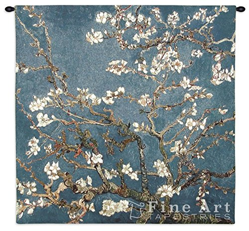 Blossoming Almond Tree by Van Gogh - Woven Tapestry Wall Art Hanging for Home Living Room & Office Decor - Post Impressionism Floral Landscapes Masterpiece - 100% Cotton - USA