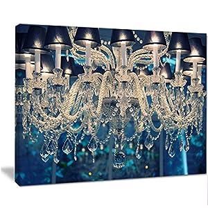 Designart PT13874-20-12 Blue Vintage Crystal ChandelierFlower Artwork on Canvas, 12″ H x 20″ W x 1″ D 1P
