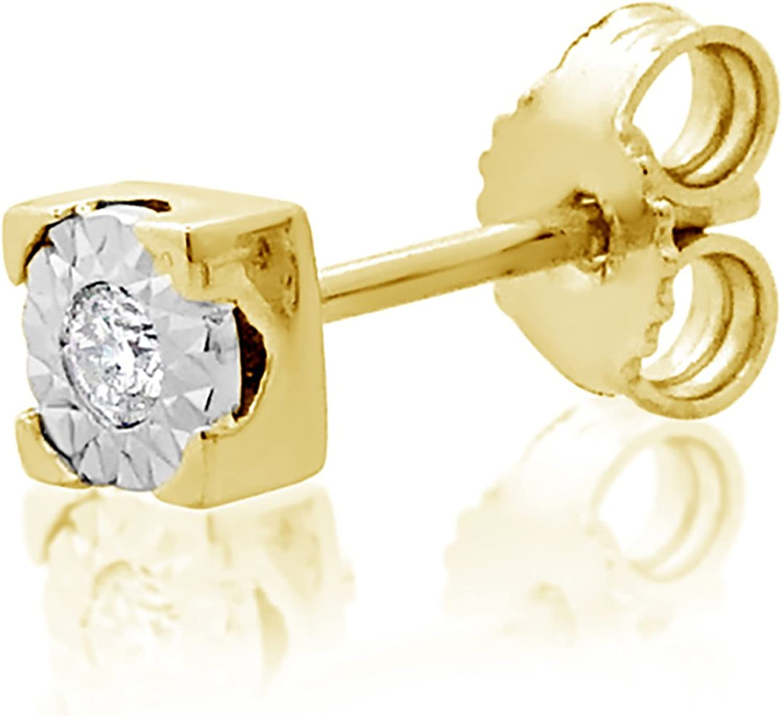 MILLE AMORI ∞ Mono Pendiente Oro y Diamantes Mujer Hombre - Oro Amarillo 9 Kt 375 ∞ Diamantes 0.015 Kt - joyas de fantasía