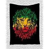 Rasta Tapestry by Ambesonne, Ethiopian Flag Colors on Grunge Sketchy Lion Head with Black Backdrop, Wall Hanging for Bedroom Living Room Dorm, 40 W X 60 L Inches, Light Green and Yellow
