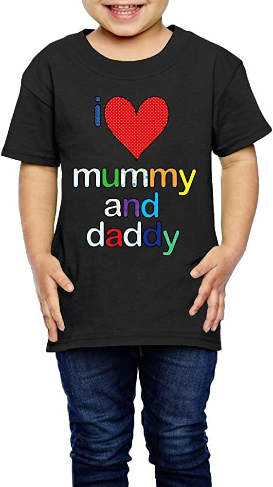 Shanala I Love My Daddy and Mummy Age 2-6 Kids T-Shirt for Girls Boys Black