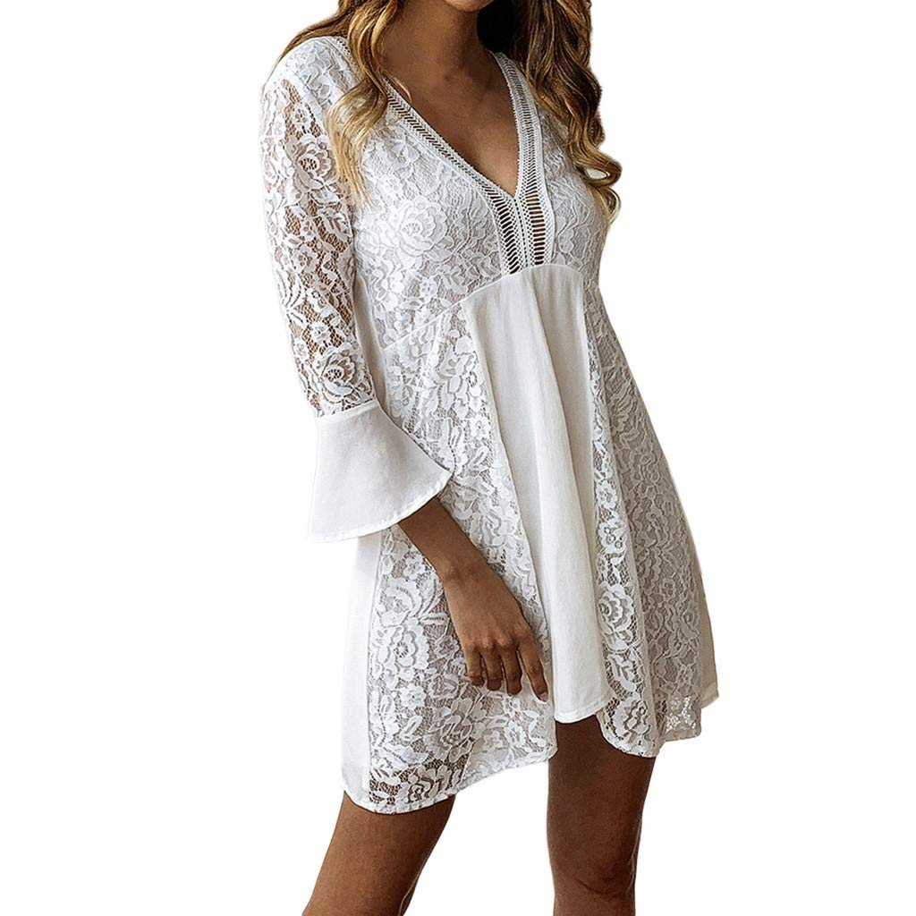 Nmch Women's V-Neck Lace Patchwork Hollow Out Mini Dress Sexy Solid Flare Half Sleeve Cotton Dresses Daily Casual Dress(White,XL)