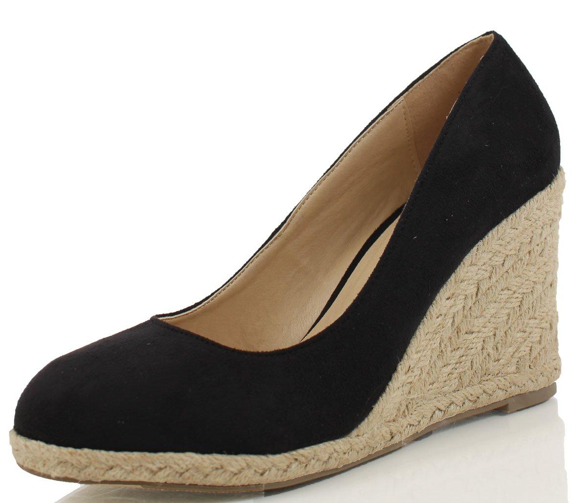 Delicious Women's Parma Round Toe Espadrille Wedge Slip on Sandals B00WXRRXFS 8.5 B(M) US Black