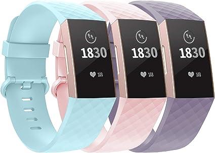 Imagen deWASPO Compatible con Fitbit Charge 4/Charge 3 Correa Special Edition, Correa de Repuesto clásica Ajustable con Hebilla de aleación de Aluminio clásica