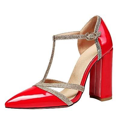 YE Damen T Spangen Chunky Heels Lack Pumps mit Schnallen und Pailletten Elegant  Schuhe - associate-degree.de 88ea97bd6f