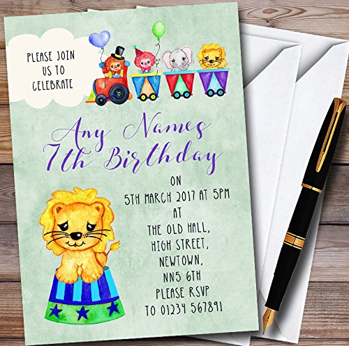 Boys Watercolour Circus Animals Personalized Childrens Birthday Party Invitations by The Card Zoo
