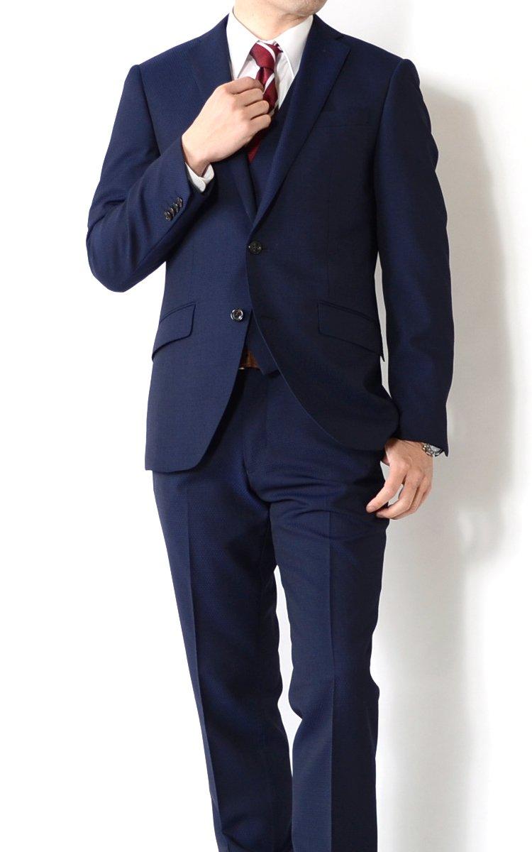 (アウトレットファクトリー)OUTLET FACTORY メンズスーツ 3ピーススーツ スリムモデルスーツ ご家庭で洗濯可能なスラックス 2COLOR Y体 A体 AB体 2ツボタンビジネススーツ B07CXN3DSQ AB6|ネイビー ネイビー AB6