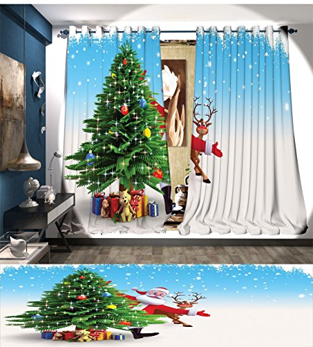 Davishouse Santa Window Curtain Drape Traditional Xmas Character with Funny Reindeer Surprise Present Boxes under Pine Tree Decorative Curtains For Living Room (Santa's Reindeer Make This Noise)