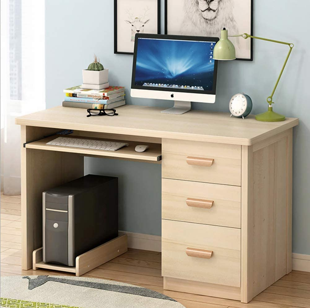 Desk Writing Computer Desk Pc Laptop Table,Computer Table Home Office Desk Wood Top with Keyboard Tray Cabinet for Tenant Furniture-b 100x50x71cm(39x20x28in)