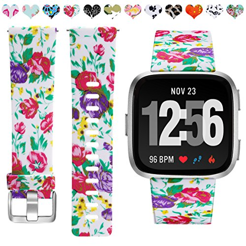 Maledan Compatible with Fitbit Versa Bands, Water Resistant Flexible Adjustable Accessories Printed Strap Wristbands, Fits for Women Girls, Peony Flower, Small