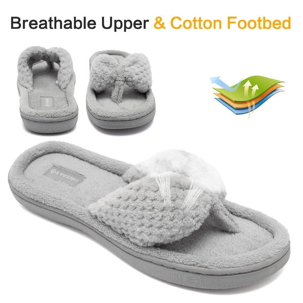 CIOR Fantiny Womens Cozy Memory Foam Spa Thong Flip Flops House Indoor Slippers Plush Gridding Velvet Lining Clog Style