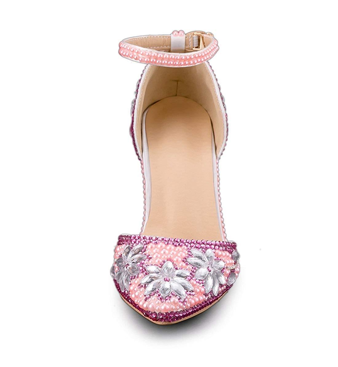 Qiusa Frauen Blaumen Jem Studded Studded Studded High Heel Knöchelriemen Rosa Hochzeit Schuhe UK 4 (Farbe   - Größe   -) 514705